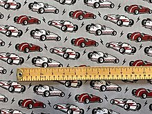 Polycotton Fabric - Red & White Racing Cars on