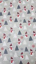 Polycotton Fabric - Snowmen & Christmas Trees on