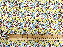 Polycotton Fabric - Yellow Multi Floral Print -