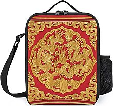 Polyester Lunch Box Wood Carved On Red Door