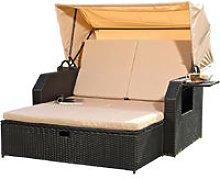Polyrattan bed in black incl. sunroof Rattan sofa