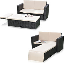 Polyrattan garden sofa and folding footrest Lounge