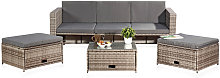 Polyrattan seating furniture set sofa table 2