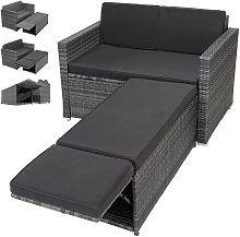 Polyrattan Set Two-Seater-Couch Ottoman with