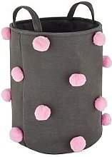 Pom Pom Laundry Basket - Grey/Pink