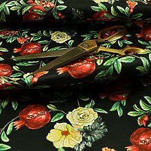 Pomegranate Floral Black Red Pattern Velour