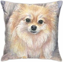 Pomeranian Watercolor Portrait Pillow Cover
