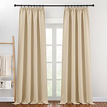 PONY DANCE Beige Curtain for Bedroom - (W 55 inch