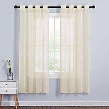PONY DANCE Cream Sheer Curtains - Transparent Net