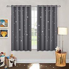 PONY DANCE Grey Blackout Curtains - Star Curtain