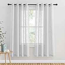 PONY DANCE Grey Voile Curtain - Silver Faux Linen