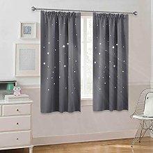 PONY DANCE Kids Blackout Curtains - Grey Bedroom