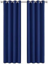 PONY DANCE Navy Curtain for Boys - Eyelet Window