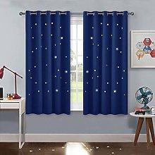 PONY DANCE Navy Star Curtains - Blackout Curtain