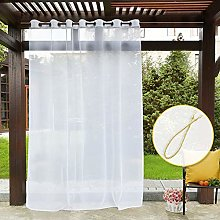PONY DANCE Patio Net Curtain - White Voile Outdoor