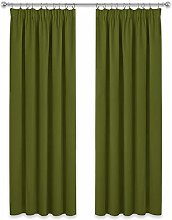 PONY DANCE Pencil Pleat Curtains - Olive Green