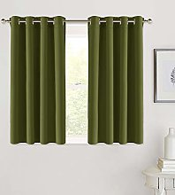 PONY DANCE Short Blackout Curtain for Nursery Eyelet Top Curtain Window Treatments for Home Decoration Thermal Room Darkening Curtain Panel for Boys' Room, 2 PCs, 52 inch by 45 inch, Olive Green