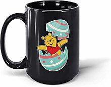 Pooh Easter Egg Ceramic Coffee Mug Tea Cup (Black,