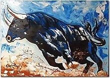 Pop Art Graffiti Animal Cow Poster Print On Canvas