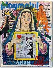 Pop Graffiti Art Love Ball Van Virgin Mary