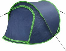 Pop-up Camping Tent 2 Persons Navy Blue / Green -