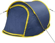 Pop-up Camping Tent 2 Persons Navy Blue / Yellow -