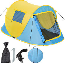 Pop up tent waterproof - blue/yellow