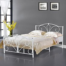Popamazing 4Ft 6 White Metal Double Bed Frames