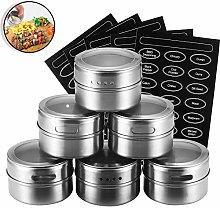 PopHMN 6 Pcs Magnetic Spice Jar, Stainless Steel
