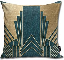 popluck Art Deco Glamour - Teal And Gold Square