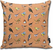 popluck British Bird Pattern Square Pillow Office