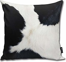 popluck Cowhide In Black And White Square Pillow
