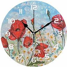 Poppy Daisy Forget-me-nots Wall Clock Quartz