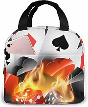Popular Playing Cards Lunch Bag,Reusable Insulated