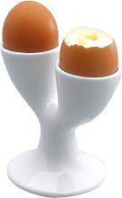 Porcelain Double Egg Cup in White KitchenCraft