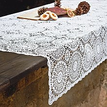 PORCELLANA Lace Fiore Tablecloth, Porcelain White,