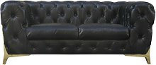 Porcher Leather 2 Seater Chesterfield Sofa