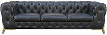 Porcher Leather 3 Seater Chesterfield Sofa