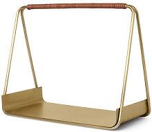 Port log basket - / Metal & leather - L 50 cm by