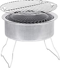 Portable Charcoal Grill, Silver Portable Charcoal