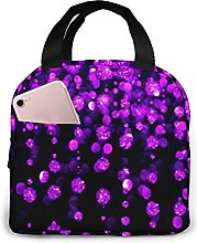 Portable Insulated Lunch Bag, Cute Glitter Lunch