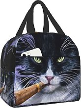 Portable Insulated Lunch Bag Evil Cat Smoking