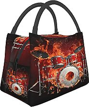 Portable Insulated Lunch Bag,Fire Skull Playing