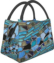 Portable Insulated Lunch Bag,Green Turquoise Blue