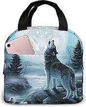 Portable Insulated Lunch Bag, Howling Wolf