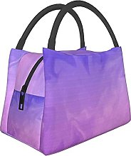 Portable Insulated Lunch Bag,Purple Pink Ombre