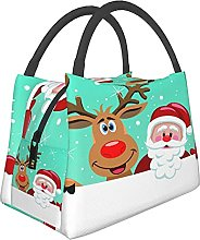 Portable Insulated Lunch Bag,Santa Cartoon with