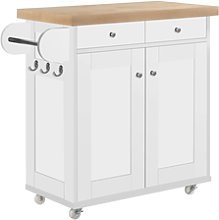 Portable Kitchen Island Trolly Cart with Oak Top
