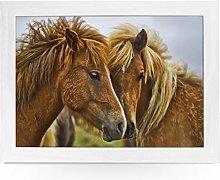 Portable Lap Desk Tray (Brown Horses) Handmade