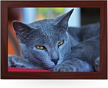Portable Lap Desk Tray (Chartreux Cat) Handmade